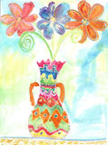 Watercolor children drawing Flowers Stock Photos