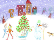 Watercolor children drawing winter sleigh ride Stock Photography