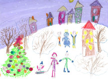 Watercolor children drawing winter sleigh ride Stock Images