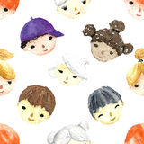 Watercolor children faces. Royalty Free Stock Images