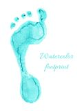 Watercolor children foot. Watercolor blue print of children foot. Vector illustration Stock Photos