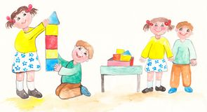 Watercolor children play Royalty Free Stock Image