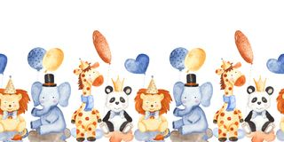 Watercolor children`s birthday with animals. royalty free illustration