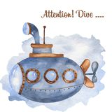 Watercolor children`s card with a cute cartoon submarine. Great for baby cards, invitations, baby shower, parties, birthday stock illustration