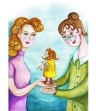 Watercolor children`s drawing of mother and nurse, mother passes on the child`s adon, baby girl, mother trusts the nurse, relation royalty free illustration