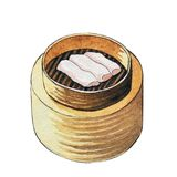 Watercolor dim sum in wooden steamer. Watercolor chinese dim sum Cheong Fun in wooden steamer on white background Stock Photo