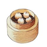 Watercolor Chinese food dim sum. Watercolor Chinese dim sum in wooden steamer on white background. Isolated box with delicious Chinese food Stock Photo