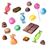 Watercolor chocolate candies Royalty Free Stock Photography