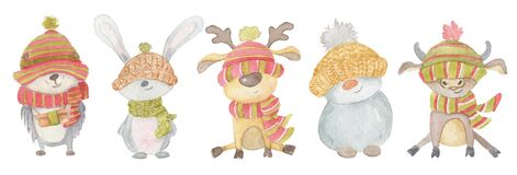 Watercolor Christmas animals hedgehog, hare, deer, snowman, bull. Winter hand drawn illustration Isolated