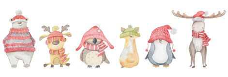 Watercolor Christmas animals polar bear, elk, owl, deer, penguin, Fox. Winter hand drawn illustration Isolated