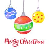 Watercolor Christmas background with Christmas balls. Bright Christmas decoration. Merry Christmas greeting card. Vector royalty free illustration
