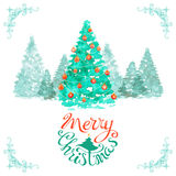 Watercolor Christmas background. Stock Photo