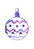Watercolor Christmas ball, hand drawn illustration, festive design element, icon.  Royalty Free Stock Photo