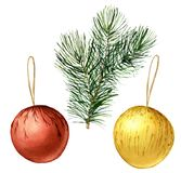 Watercolor Christmas balls with fir branch. Hand painted traditional decor isolated on white background. Holiday print. Watercolor Christmas balls with fir Royalty Free Stock Photos