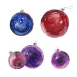 Watercolor Christmas balls. Watercolor painting. Five Christmas balls on white background Stock Photography