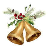 Watercolor christmas bell with christmas tree branch, mistletoe and holly decor. Gold bells with traditional decor Stock Photos