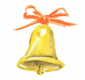 Watercolor christmas bell. stock image