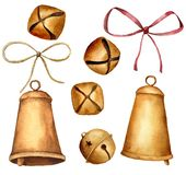 Watercolor Christmas bells set. Hand painted golden bells with ribbons isolated on white background. Holiday symbol. Collection of New Year decor royalty free illustration