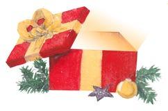 Watercolor Christmas box stock photos
