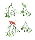 Watercolor Christmas branch of mistletoe and red ribbon set. Use it for wrapping paper, card or textile design. Hand drawn mistletoe twigs. Christmas mistletoe Stock Images