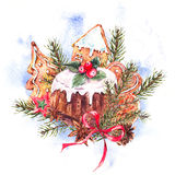 Watercolor Christmas cakes with holly. Watercolor Christmas illustration with traditional pudding, gingerbread cookies, fir branches and orange slices, New Year Royalty Free Stock Photos