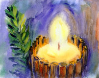 Watercolor Christmas Candle Stock Photography