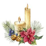 Watercolor Christmas candles with holiday decor. Hand painted floral composition with leaves, poinsettia, bells, juniper. Berries on white background. Botanical vector illustration