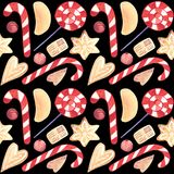 Watercolor Christmas candy cane ginger biscuits seamless pattern stock illustration