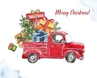 Watercolor Christmas car illustration. Red vintage truck with holiday fir tree and gifts, isolated on white background.