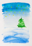 Watercolor Christmas Card Stock Photography