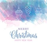 Watercolor Christmas card with baubles stock illustration
