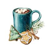 Watercolor Christmas card with cacao and pastry. Hand painted cup of cacao, marshmallow, cookies and cinnamon sticks. Isolated on white background. Holiday stock illustration