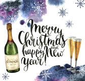 Watercolor christmas card with champagne and snowflakes. Season illustration with Merry Christmas and happy New Year. Lettering on white background. For design vector illustration