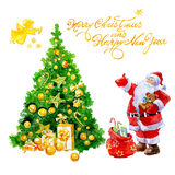 Watercolor Christmas card with Santa Claus gifts and Christmas tree and angel isolated. On white background vector illustration