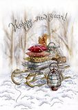 Watercolor Christmas card_sleigh in the forest stock illustration