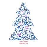 Watercolor Christmas card Stock Photography