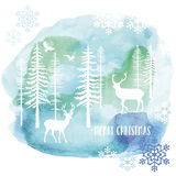 Watercolor Christmas card, vector. Christmas card with reindeer and fir tree forest, watercolor painting, vector illustration Royalty Free Stock Photo