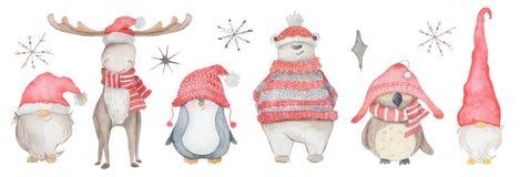 Watercolor Christmas Cartoon Characters Dwarf, Elk, Penguin, Bear, Owl Hand Drawn Winter Animals Illustration Royalty Free Stock Photography