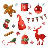 Watercolor Christmas clipart Stock Photo