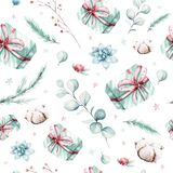 Watercolor holiday christmas clipart seamless pattern. Winter decoration element. Merry christmas design. Pine tree