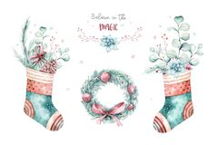 Watercolor holiday christmas clipart. Winter decoration element. Merry christmas design. Pine tree branch, frame