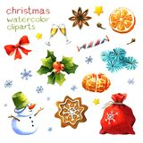 Watercolor Christmas clipart Royalty Free Stock Photo