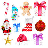Watercolor christmas collection Stock Image