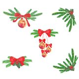 Watercolor. Christmas composition of fir branches, balls and bows. royalty free illustration
