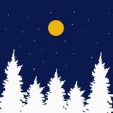 Watercolor. Christmas composition of trees in the snow, snowflakes and the moon. vector illustration