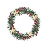 Wreath of fir with stars. Watercolor Christmas coniferous wreath with red berries and stars on a white background. Traditional frame for your holiday, wishes and Royalty Free Stock Images