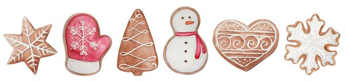 watercolor Christmas cookies set vector illustration