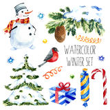 Watercolor christmas cute illustrations collection. set for scrapbook and design. vector illustration