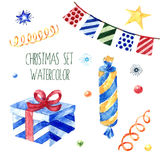 Watercolor christmas cute illustrations collection. Winter set for scrapbook and design. Watercolor christmas cute illustrations collection. Christmas set for Stock Photography