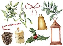 Watercolor Christmas decor with plant and berries. Hand painted eucalyptus, snowberry, bell, red bow, candle, mistletoe. Lantern and holly isolated on white vector illustration